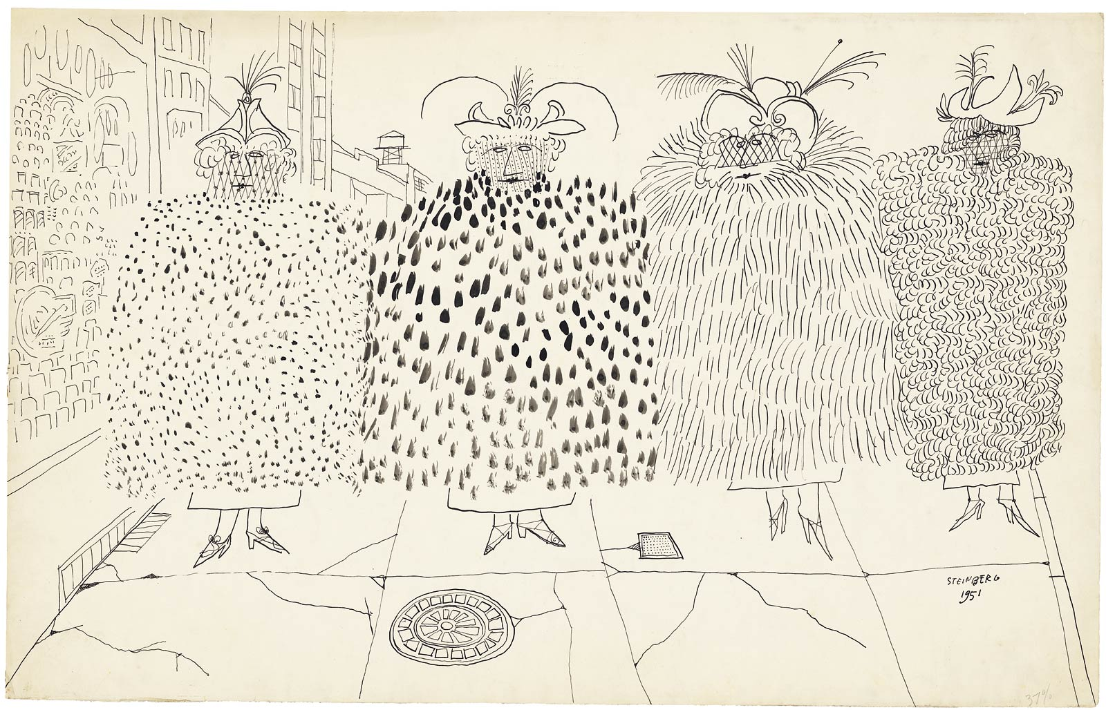 <em>Fur Coats</em>, 1951. Ink on paper, 14 ½ x 23 in. The Art Institute of Chicago; Gift of The Saul Steinberg Foundation.