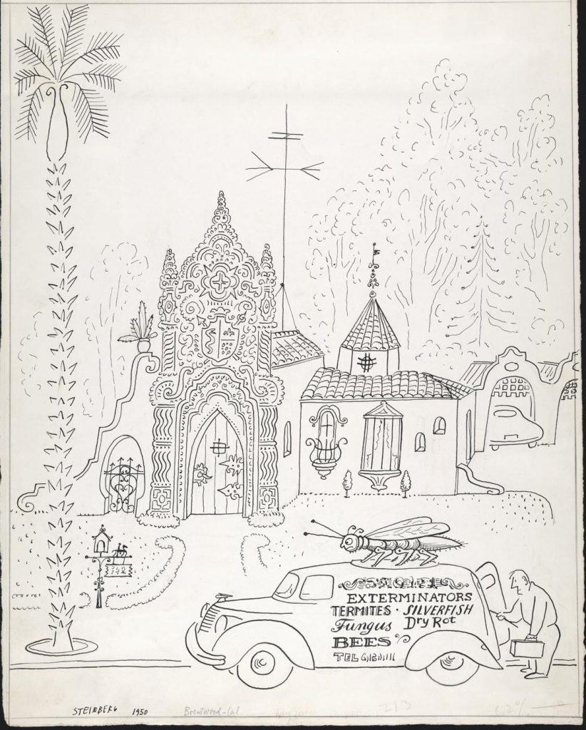 "Original drawing for the portfolio ""The Coast,"" <em>The New Yorker</em>, January 27, 1951. <em>Exterminator No. 9</em>, 1950, ink on paper, 14 ½ x 11 ½ in. Saul Steinberg Papers, Beinecke Rare Book and Manuscript Library, Yale University."
