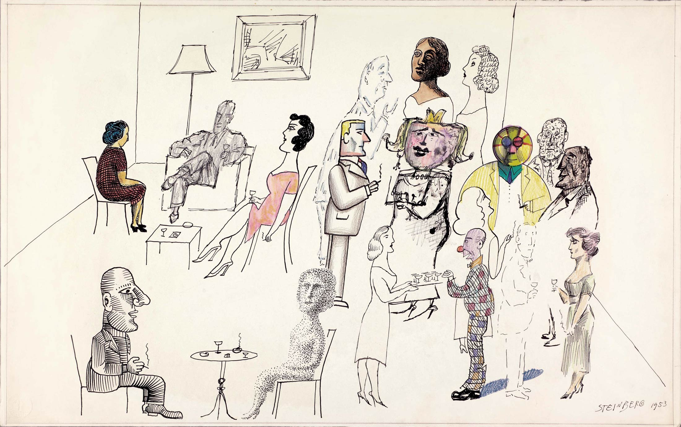 <em>Techniques at a Party I</em>, 1953. Ink, watercolor, pencil, and crayon on paper, 14 ½ x 23 in. The Morgan Library & Museum, New York; Gift of The Saul Steinberg Foundation.