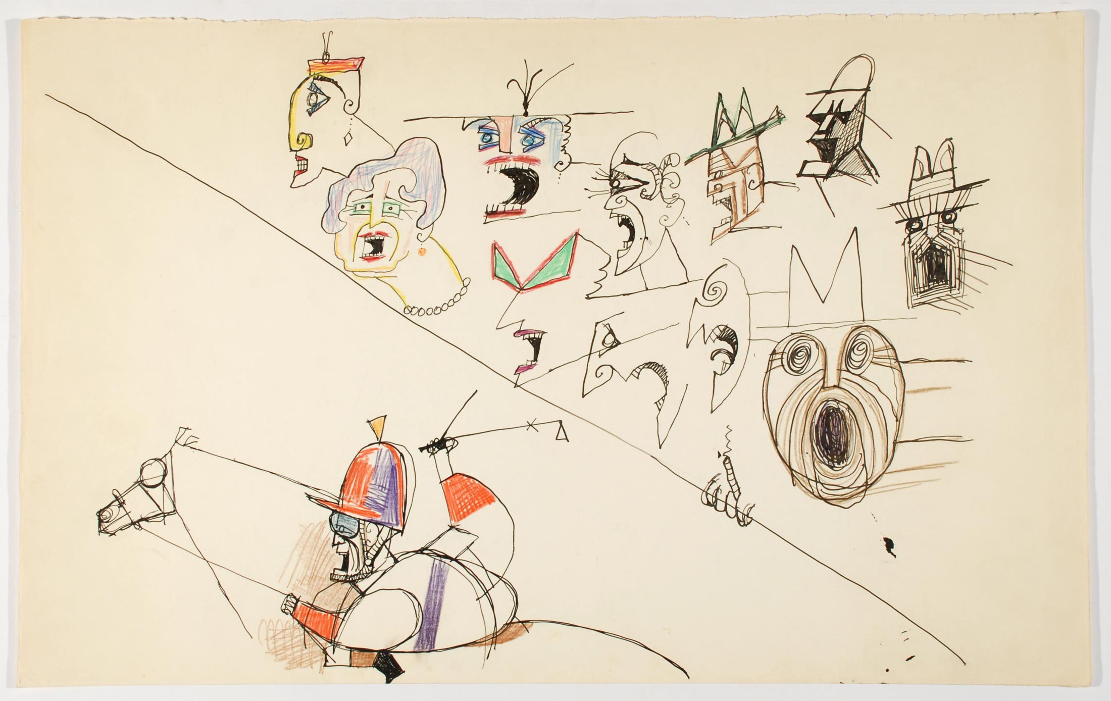 <em>Untitled [At the Racetrack]</em>, c. 1958. Ink and colored pencil on paper, 14 ½ x 23 in. The Saul Steinberg Foundation.