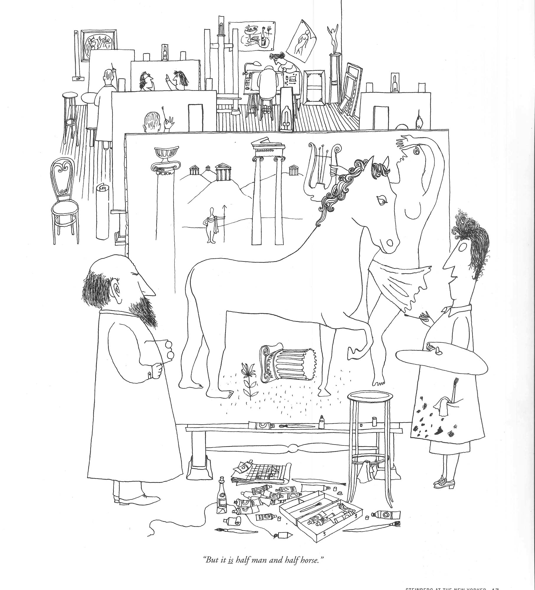 """But it is half man and half horse,"" <em>The New Yorker</em>, October 25, 1941, Steinberg's first drawing in the magazine."