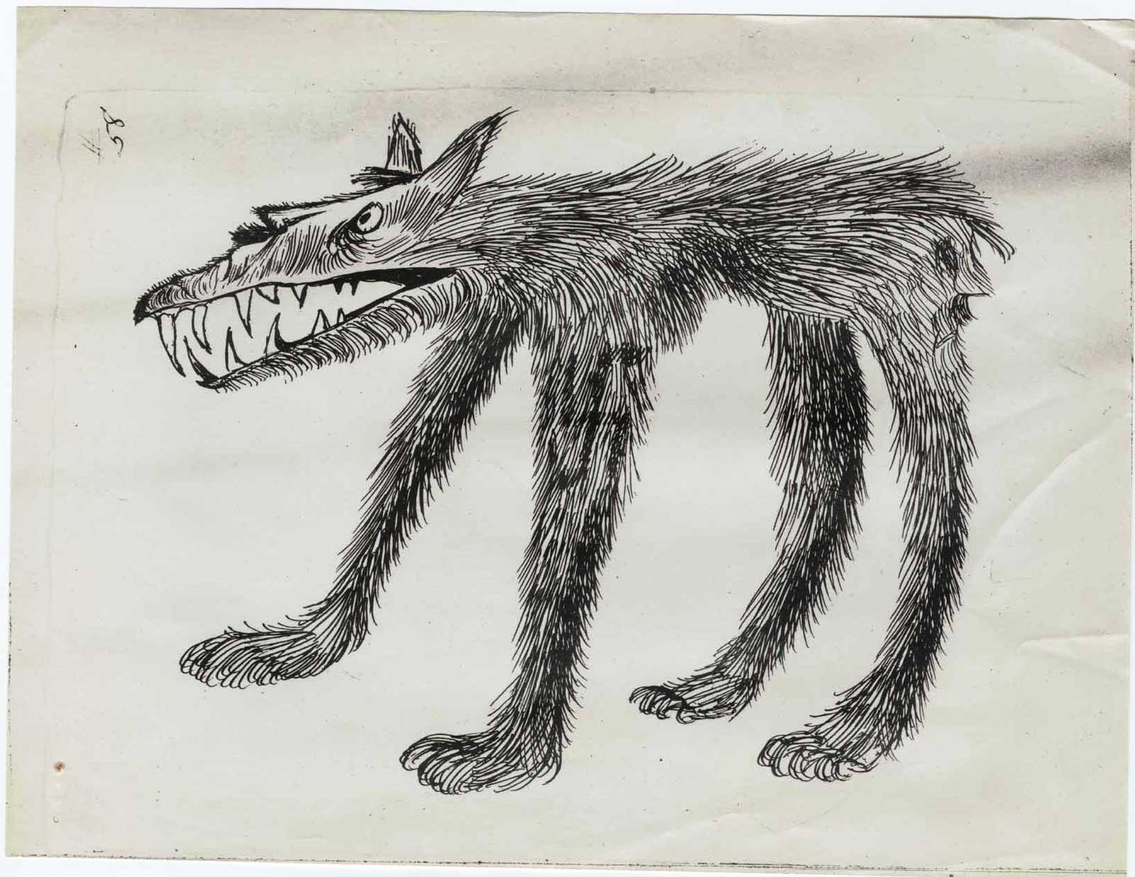 Propaganda drawing (Hitler as a two-faced wolf), produced by Morale Operations, Rome, 1944.