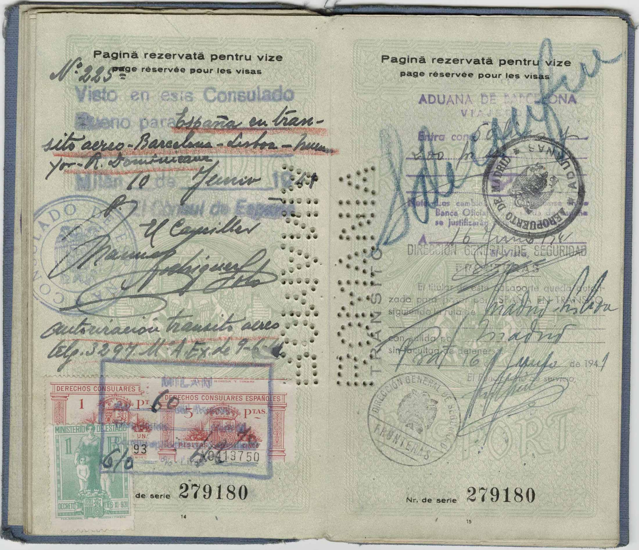 Pages 14-15 of Steinberg's expired Romanian passport, 1940. Saul Steinberg Papers, Beinecke Rare Book and Manuscript Library, Yale University.