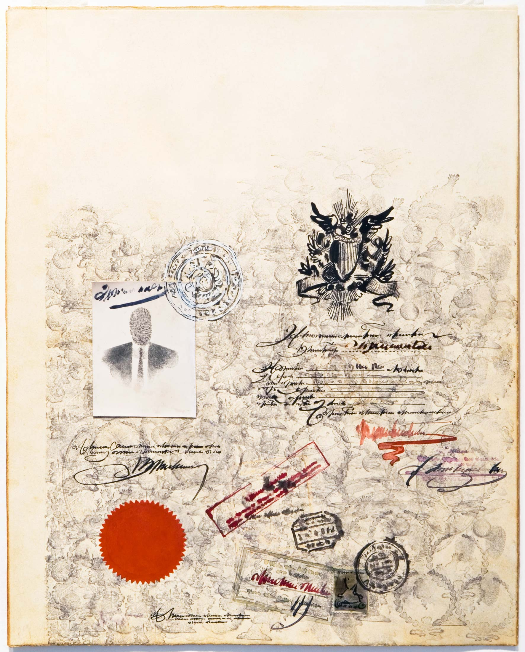 <em>Passport</em>, 1953. Mixed media on paper, 14 ¾ x 11 ¾ in. Collection of Leon and Michaela Constantiner, New York.