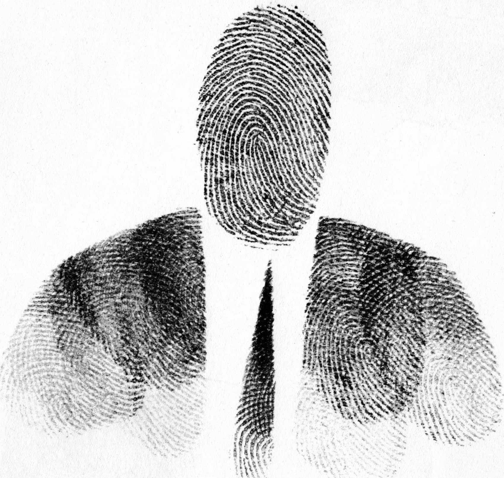 <em>Passport Photo</em>, 1953. Fingerprint on paper. Originally published in Steinberg, <em>The Passport</em>, 1954.