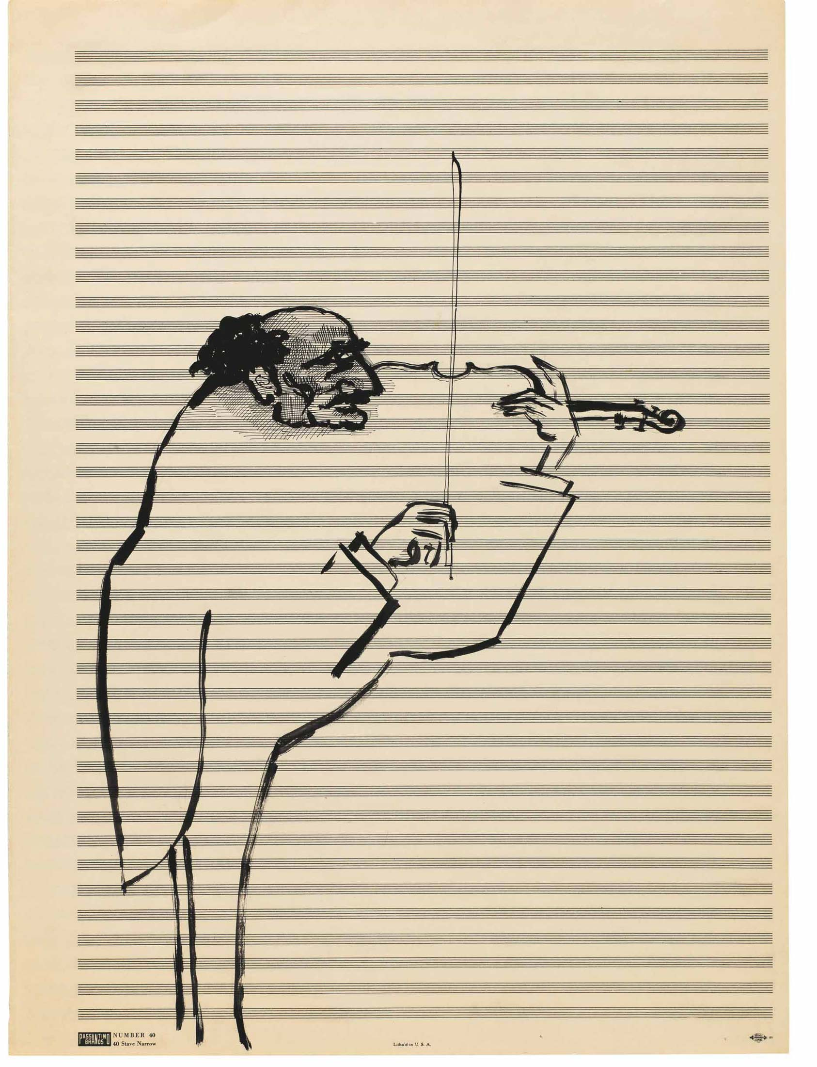 <em>Untitled</em>, c. 1950-52. Ink and pencil on sheet music paper, 19 1/8 x 14 1/8 in. The Saul Steinberg Foundation.