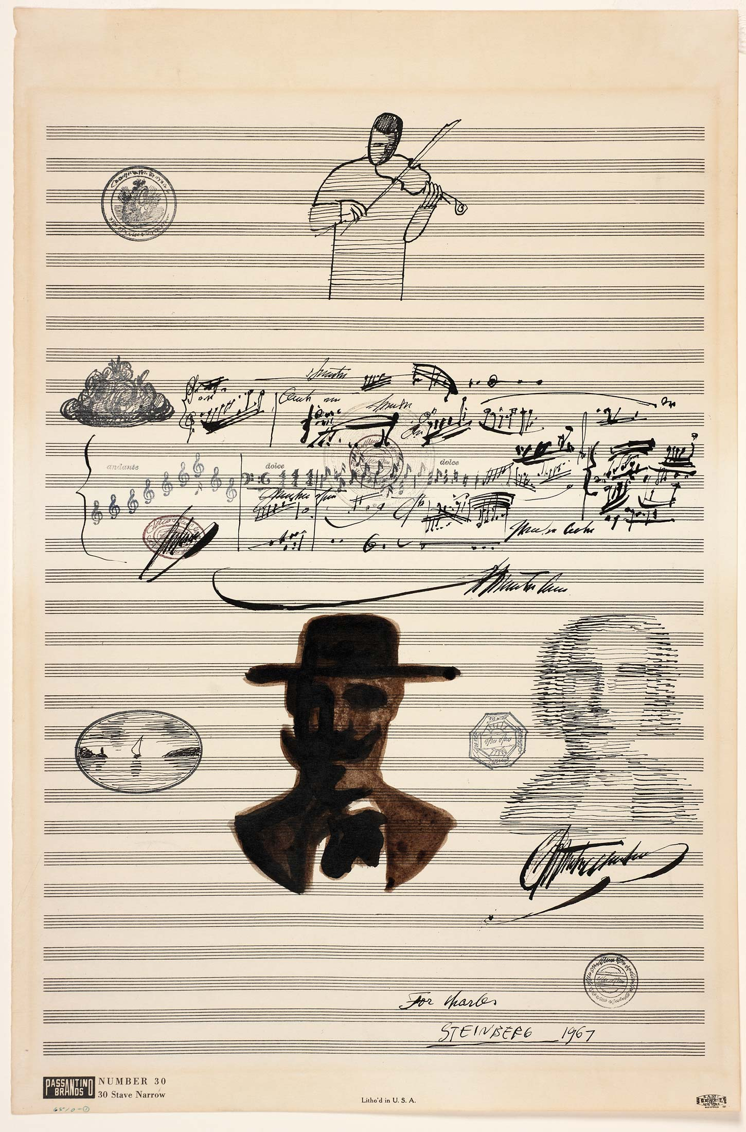 <em>Untitled (For Charles)</em>, 1967. Ink and rubber stamp on sheet music paper, 19 x 12 ½ in. Smith College Museum of Art, Northampton, Massachusetts; Bequest of Charles Blitzer.