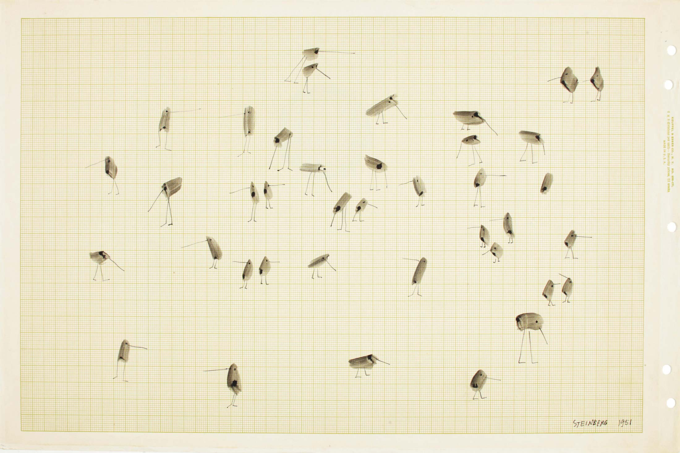 <em>Untitled</em>, 1951. Ink on graph paper, 11 x 16 ½ in. Collection of Daniela Roman.