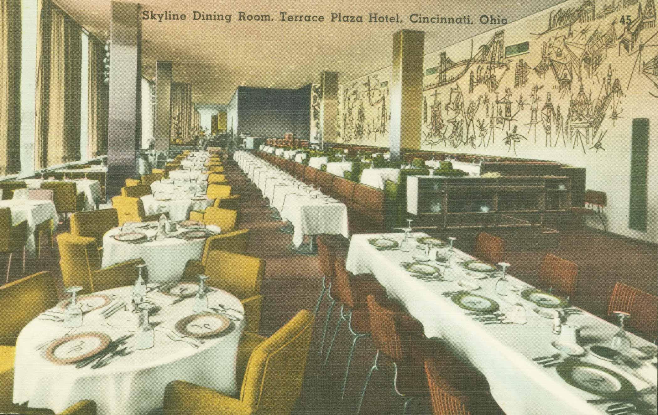 Postcard, c. 1950, of the Skyline Room with Steinberg's mural, Terrace Plaza Hotel, Cincinnati.