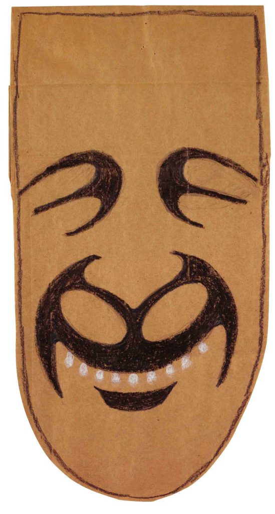 <em>Mask</em>, 1959-62. Crayon and pencil on brown paper bag, 14 5/8 x 7 ¾ in. The Art Institute of Chicago; Gift of The Saul Steinberg Foundation