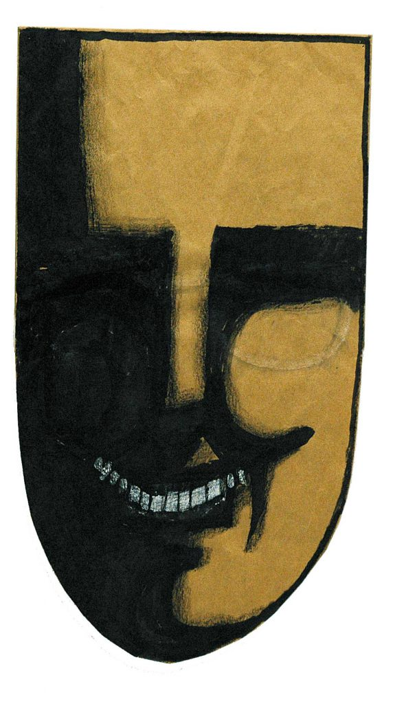 <em>Mask</em>, 1959-62. Ink and crayon on brown paper bag, 14 ¾ x 8 ¼ in. The Art Institute of Chicago; Gift of The Saul Steinberg Foundation