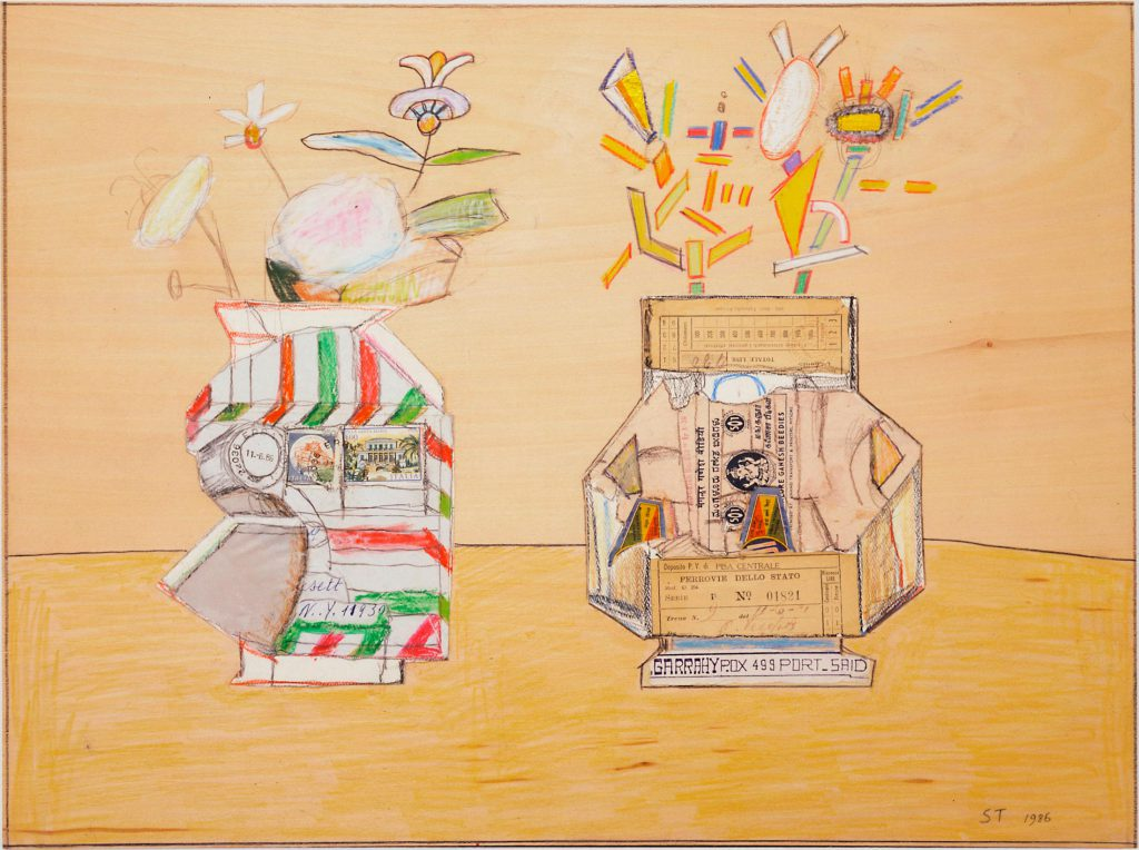 <em>Erba Still Life</em>, 1986. Crayon, colored pencil, foil, and collage on wood, 16 x 21 in. The Saul Steinberg Foundation