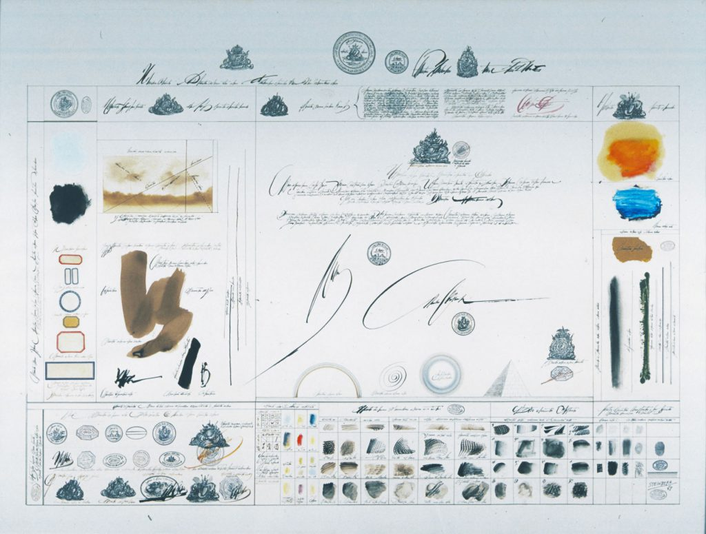 <em>Inventory #2</em>, 1967. Mixed media on paper, 30 x 40 in. Chermayeff & Geismar Associates, New York. OR Private collection