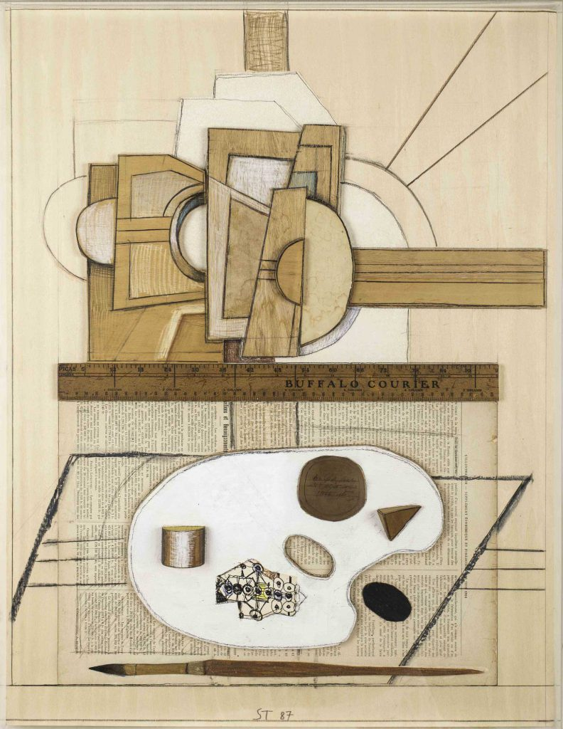 <em>Easel and Palette</em>, 1987. Mixed media on wood, 16 x 21 x 2 in. Private collection.