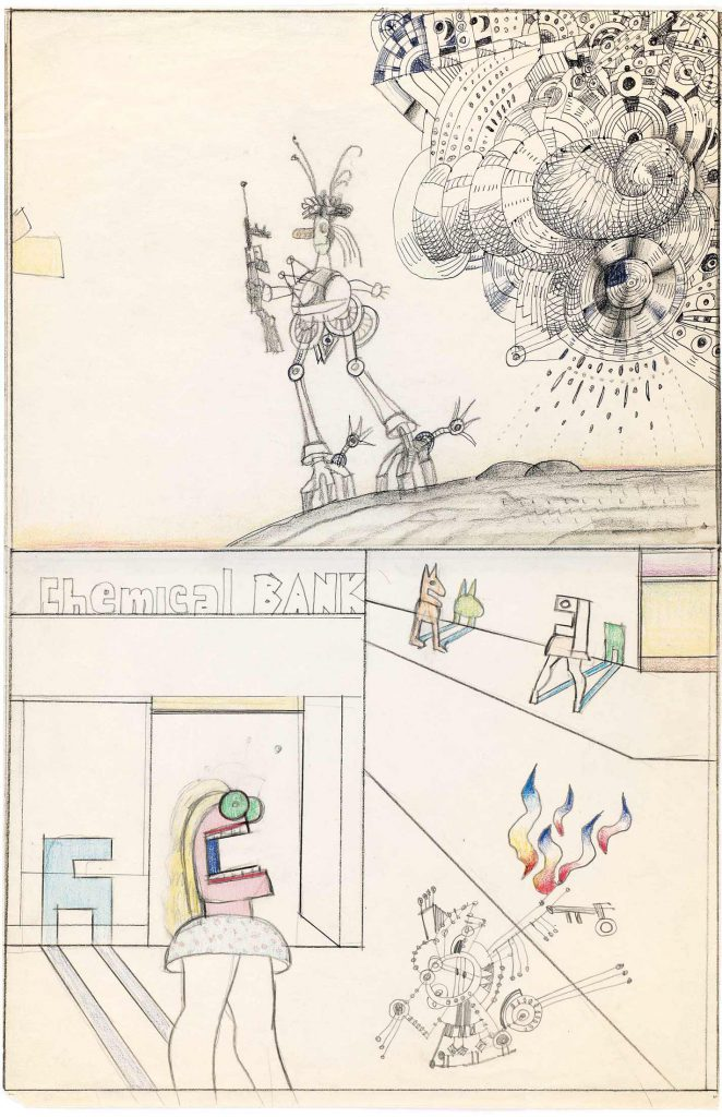 <em>Street War (Cadavre Exquis)</em>, c. 1972-74. Pencil, crayon, colored pencil, and ballpoint pen on two joined sheets of paper, 21 x 13 ½ in. The Saul Steinberg Foundation.