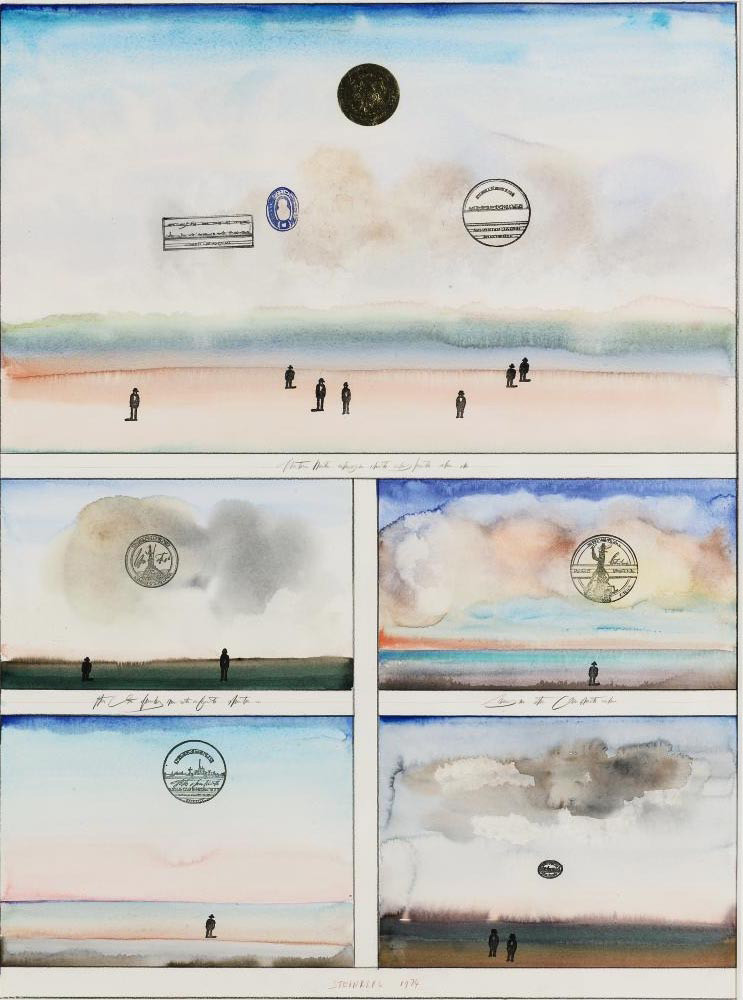 <em>Five Sunsets</em>, 1974. Watercolor, ink, rubber stamps, pencil, and collage on paper, 30 x 22 in. Private collection