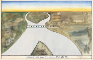 "Garden State Pkwy Toll Plaza, Asbury, N.J., 1977. Watercolor, ink, colored pencil and pencil with collage on paper, 13 ¾ x 21 5/8 in. The Saul Steinberg Foundation. Original drawing for the portfolio ""Postcards,"" The New Yorker, January 16, 1978."