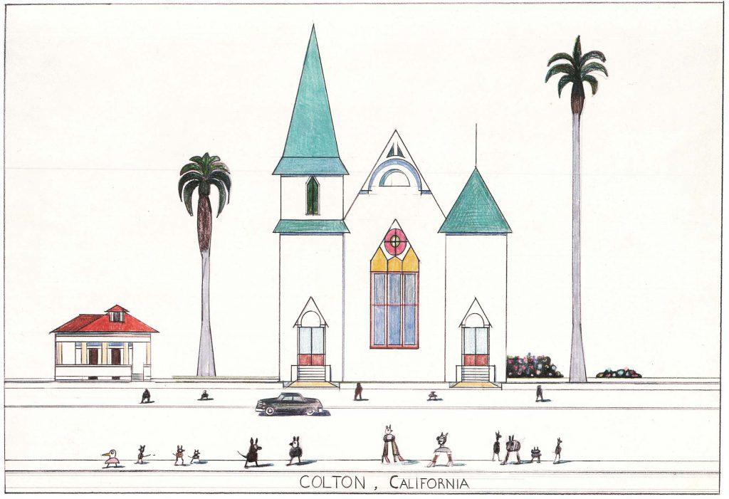 "Original drawing for the portfolio ""Postcards,"" <em>The New Yorker</em>, January 16, 1978. <em>Colton, California</em>, 1982. Whereabouts unknown. Published in Steinberg, <em>The Discovery of America</em>, 1992, p. 67"