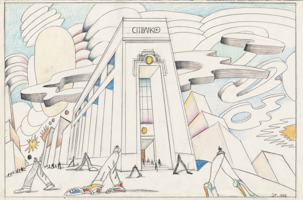 "Original drawing for the portfolio ""Bank,"" <em>The New Yorker</em>, May 19, 1986. <em>Untitled (Citibank)</em>, 1986. Pencil, colored pencil, and crayon on paper 14 ½ x 23 in. The Art Institute of Chicago; Gift of The Saul Steinberg Foundation."