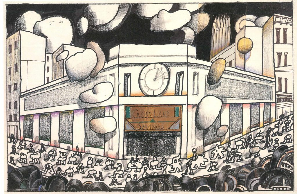 "Original drawing for the portfolio ""Bank,"" <em>The New Yorker</em>, May 19, 1986. <em>Untitled</em>, 1986. Colored markers, ink, ballpoint pen, colored pencil, crayon, foil and paper collage on paper, 14 ½ x 23 in. The Saul Steinberg Foundation."