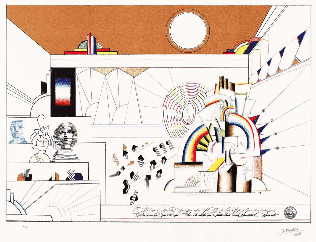<em>Jukebox</em>, 1968. Lithograph on paper, 23 x 29 ½ in. The Saul Steinberg Foundation.