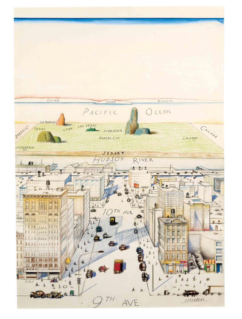 Original drawing for <em>View of the World from 9th Avenue, The New Yorker</em> cover, March 29, 1976. Ink, pencil, colored pencil and watercolor on paper, 28 x 19 in. Private collection.