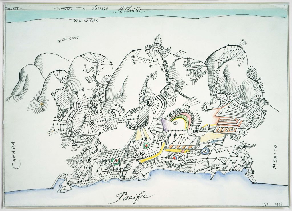 <em>The West Coast</em>, 1966. Watercolor, ink, and colored pencil on paper, 14 x 20 in. Private collection.