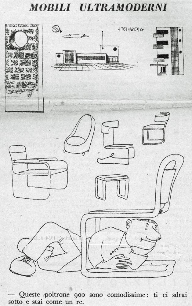"""Mobili ultramoderni"" (""Ultramodern Furniture""), Bertoldo, November 16, 1937. ""This Novecento armchair is super comfortable. You can lie under it and be like a king."""
