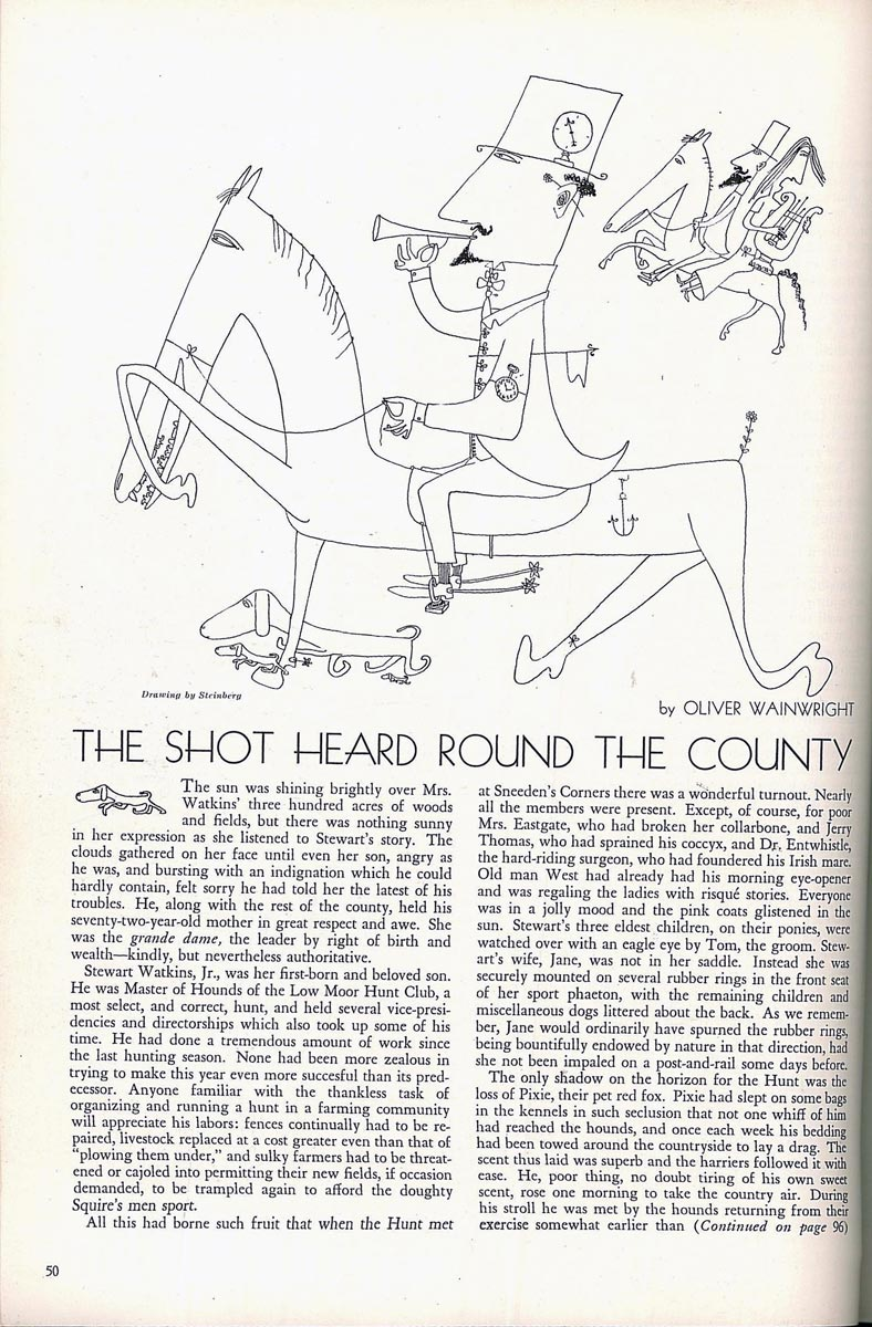 "Drawing accompanying Oliver Wainright, ""The Shot Heard Round the World,"" Town & Country (October 1940)."
