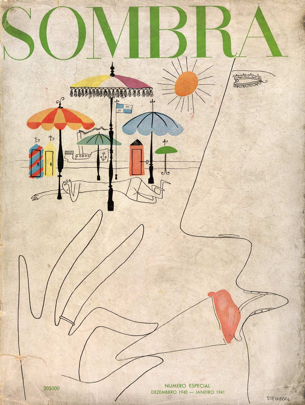 Cover and two inside drawings published in the Brazilian magazine Sombra (December 1940-January 1941).