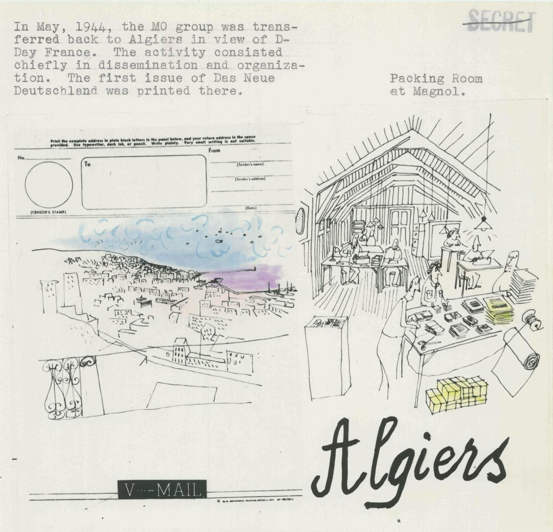 "Steinberg's drawing of the OSS Morale Operations office, Algiers, from ""Collection of Cartoons Produced by MO Artist Lt. (jg) Saul Steinberg."" NARA, Washington, DC, RG226, E99, Box 40, folder 6."