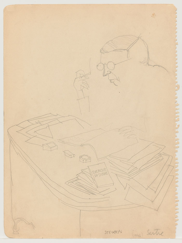 Sartre, 1946. Pencil on paper torn from sketchbook, 12 x 9 in. The Saul Steinberg Foundation.