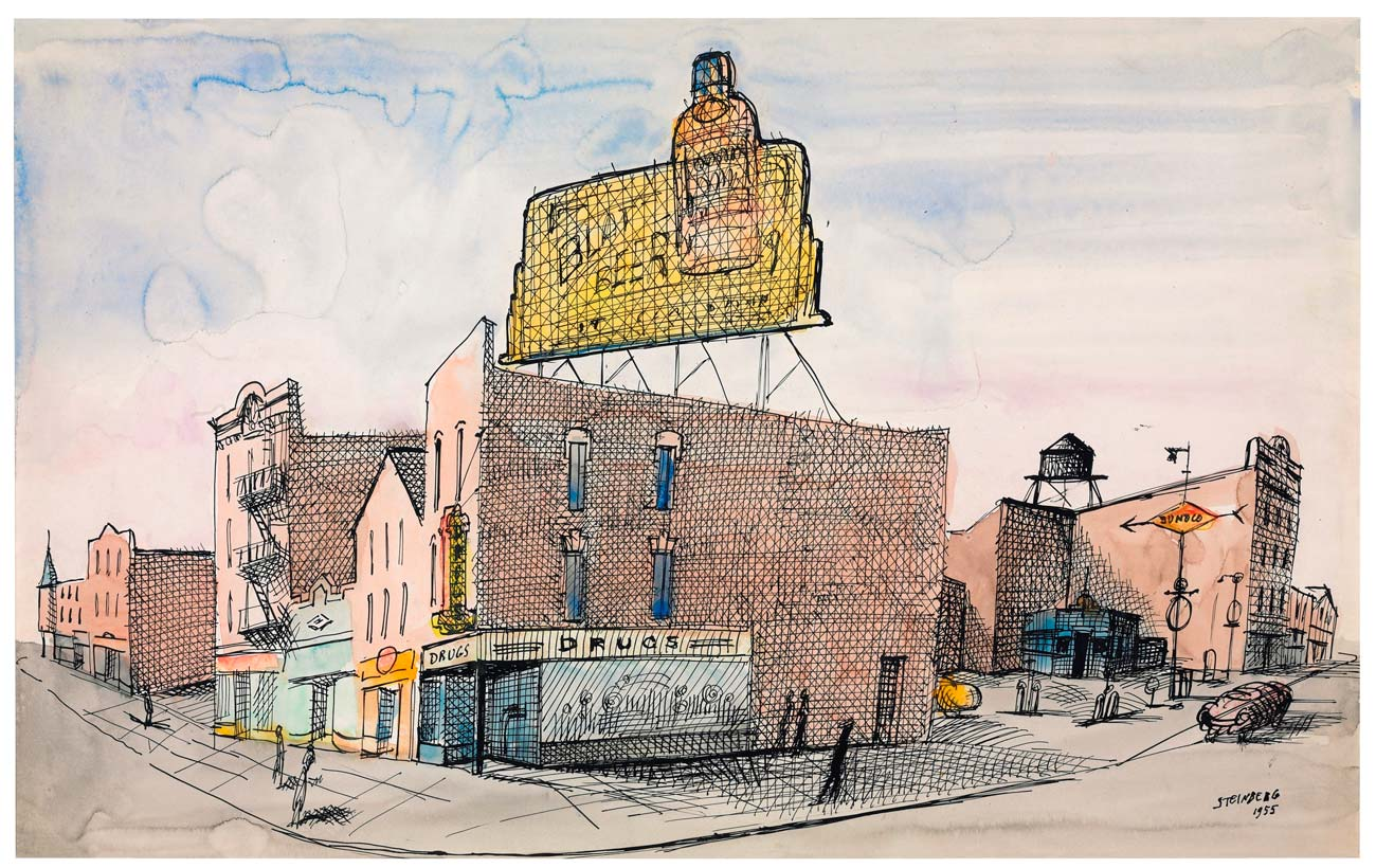 North Carolina, 1955. Ink and watercolor on paper, 14 ¾ x 23 1/8 in. Private collection.
