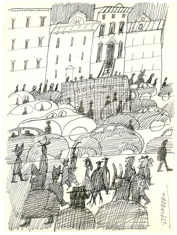 Untitled, c. 1954. Ink on paper, 9 x 12 5/8 in. Published in Aldo Buzzi, Piccolo diario americano, 1974. Collection of Marina Marchesi and Franco Salghetti-Drioli.