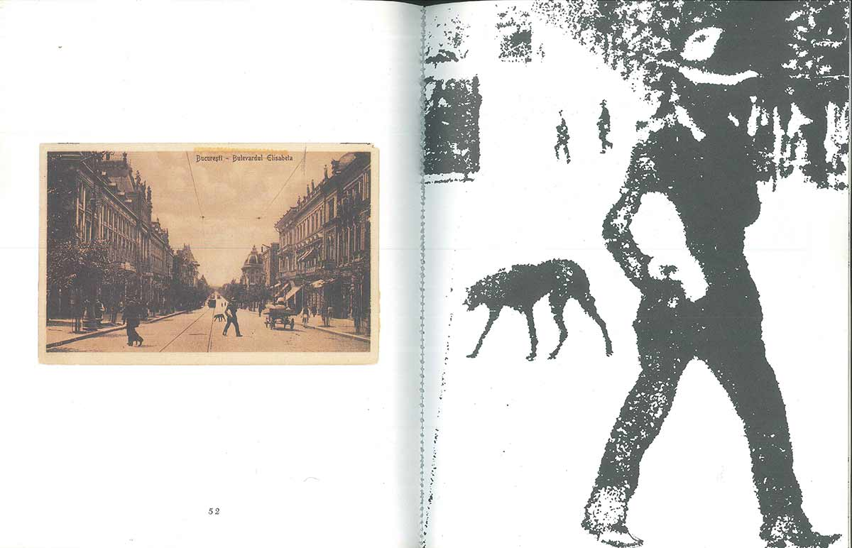 "Three spreads from ""3 Postcards & 9 Dogs,"" Grand Street, no. 36 (1990)."